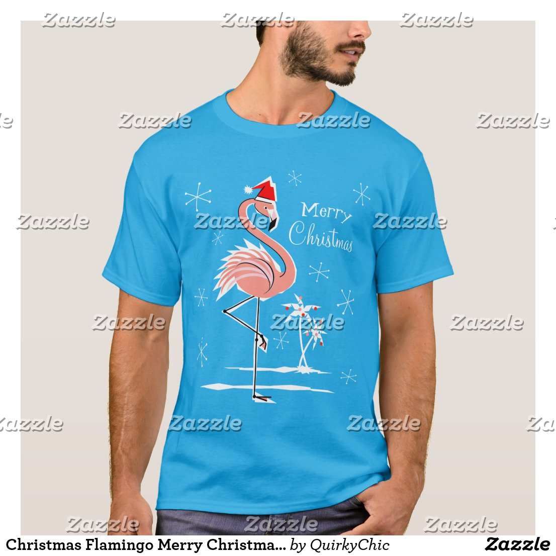 Christmas Flamingo Merry Christmas t-shirt men's
