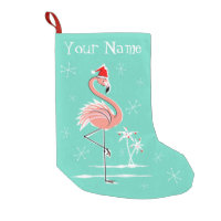 Christmas Flamingo Name stocking one sided Small Christmas Stocking