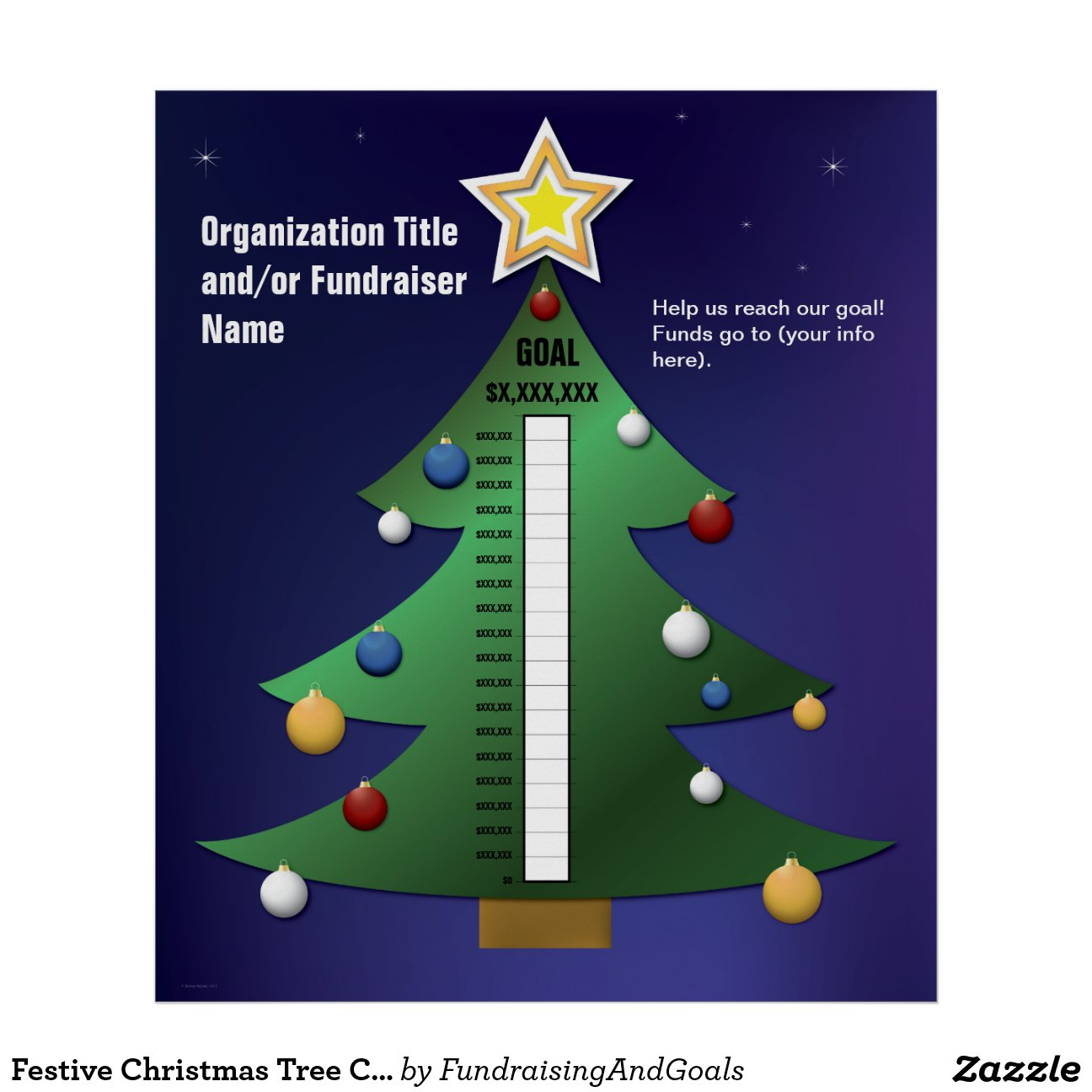 Christmas Tree Fundraising Thermometer Template Zazzle