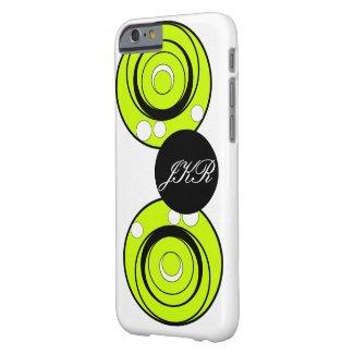 Circles in lime green black white monogram case