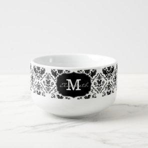 Classic and Chic Black White Damask Monogram Name Soup Mug