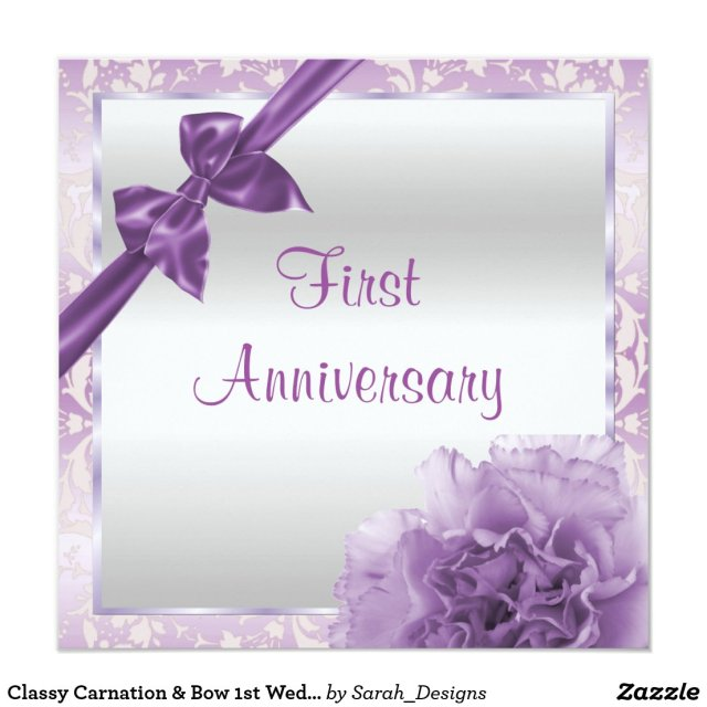 Bow 1st Wedding Anniversary Card