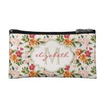 Classy Monogram Vintage Victorian Floral Flowers Cosmetics Bags