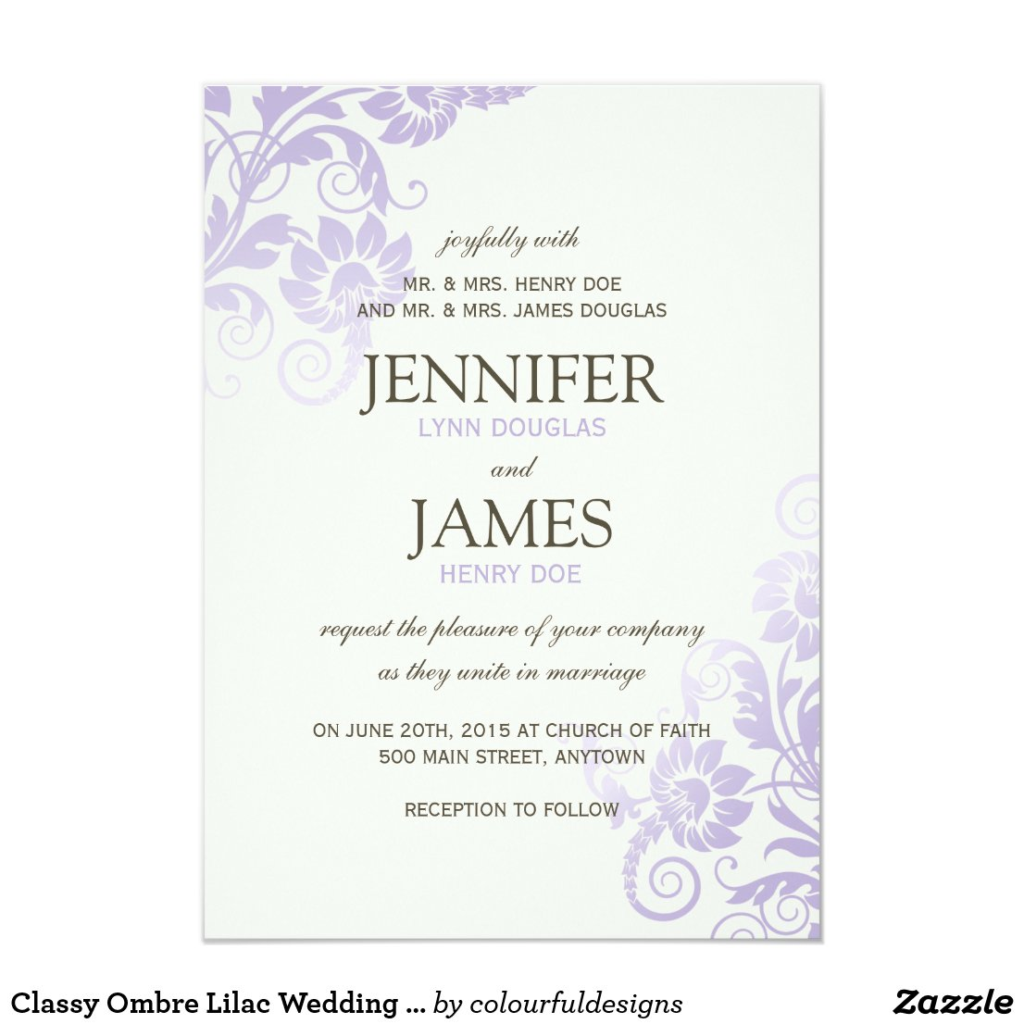 Classy Ombre Lilac Wedding Invitations