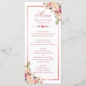 Classy Rose Gold Frame Floral Wedding Menu