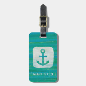 Coastal Art | Aqua Anchor Luggage Tag
