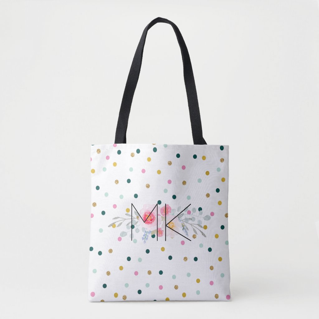 Coloured Polka Dot Tote Bag with your Initials