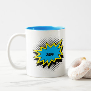 Comic Book Style Colourful Name Blue Two-Tone Coffee Mug