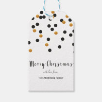 Confetti black & gold Merry Christmas gift tags Pack Of Gift Tags
