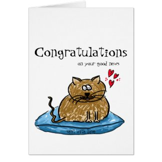 Congratulations on your good news cat illustration