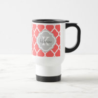 Coral and Gray Moroccan Quatrefoil Monogram 15 Oz Stainless Steel Travel Mug