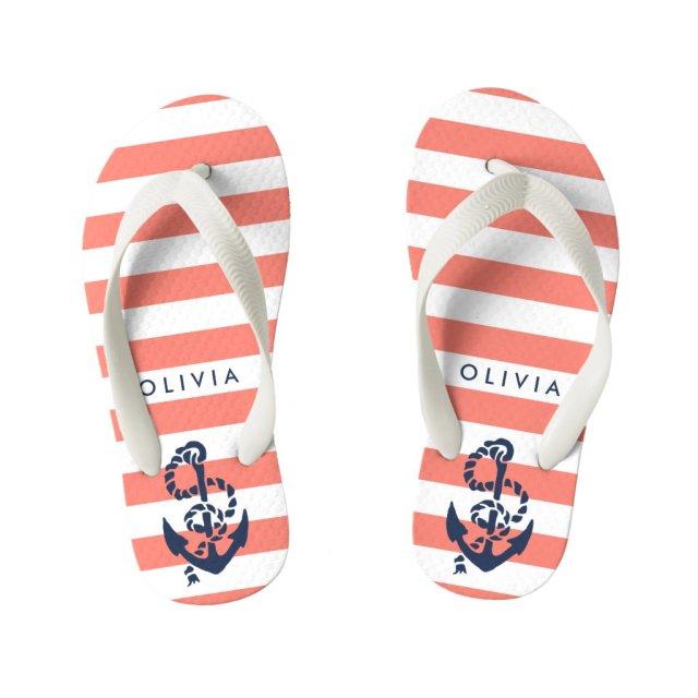 Coral Nautical Anchor Girls Flip Flops