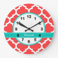 Coral Red Wht Moroccan #5 Teal Name Monogram Large Clock