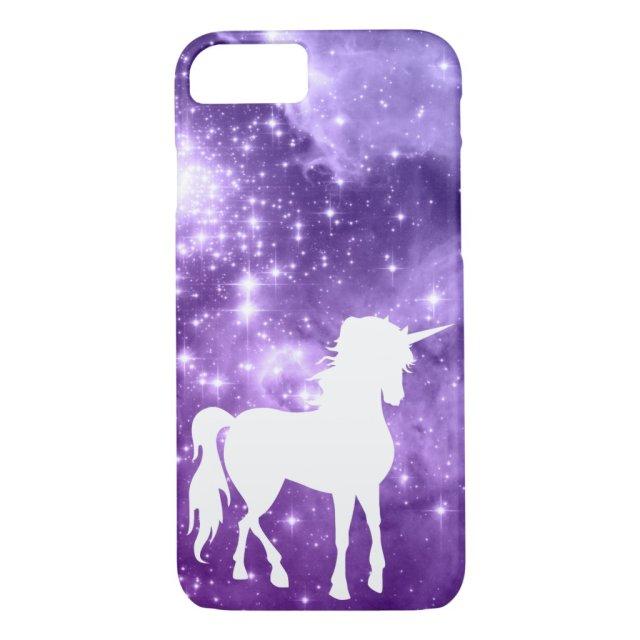 Cosmic Purple Magic Stars White Unicorn iPhone Case