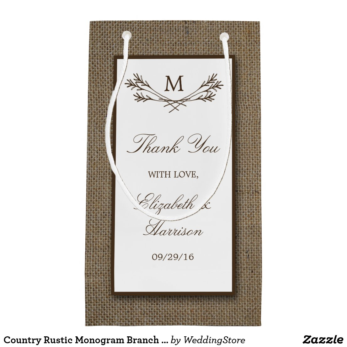 Country Rustic Monogram Branch & Burlap Wedding Gift Bag