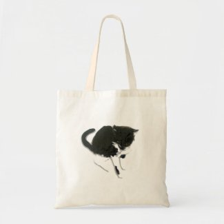 Curious Black and White Cat Bag
