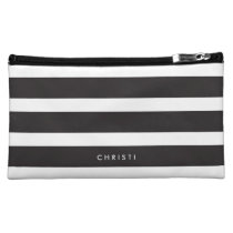 Custom Black & White Striped Makeup Bag