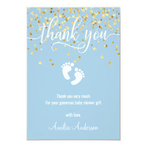 Custom Blue Gold THANK YOU Baby Shower BOY Invitation