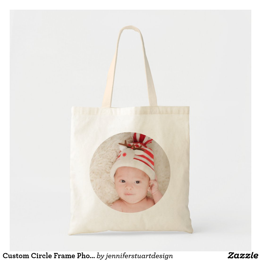 Custom Circle Frame Photo Tote Bag