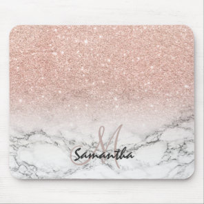 Custom faux rose pink glitter ombre white marble mouse mat