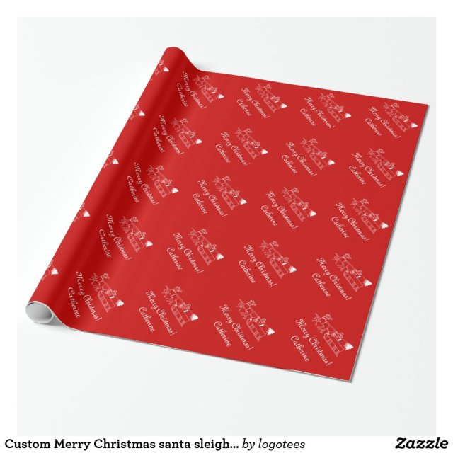 Custom Merry Christmas santa sleigh wrapping paper