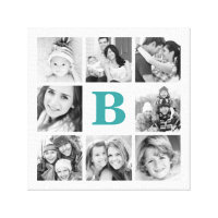 Custom Monogram Family Photo Collage Canvas Canvas Print