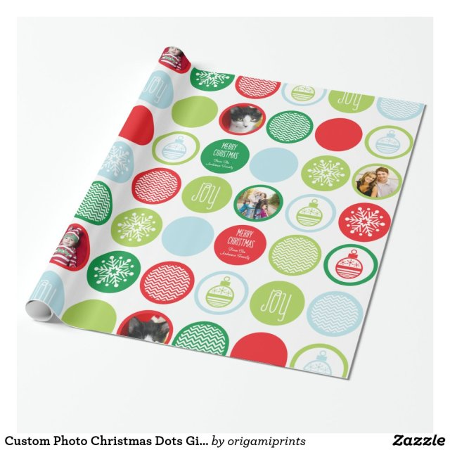 Custom Photo Christmas Dots Gift Wrap