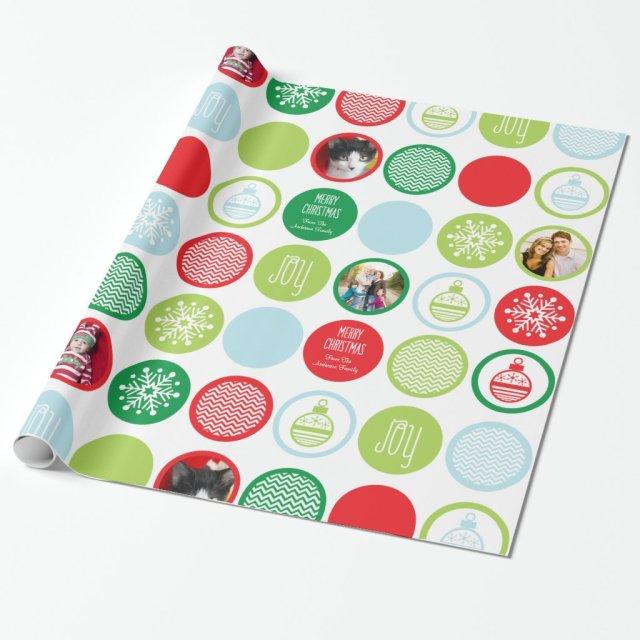 Custom Photo Christmas Dots Gift Wrap