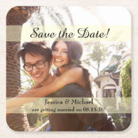 Custom Photo Save the Date Square Paper Coaster