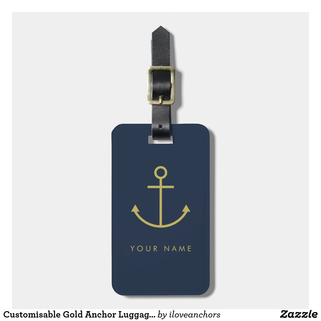 Customisable Gold Anchor Luggage Tag