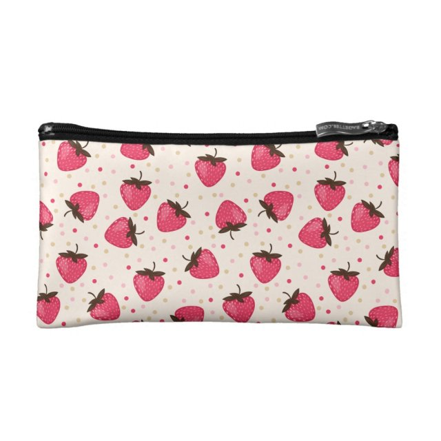 Cute and Girly Pink Strawberries Pattern Makeup Bag