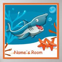 Cute Aquatic Shark Custom Kids Room Poster