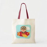 Cute Aviator Boy Airplane Adventure For Kids Tote Bag