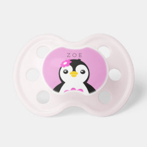 Cute Baby Girl Penguin with Pink Flower Dummy