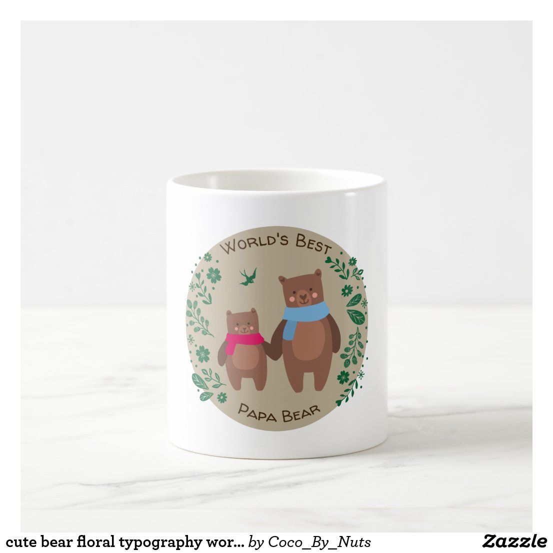 cute bear floral typography world's best papa bear coffee mug