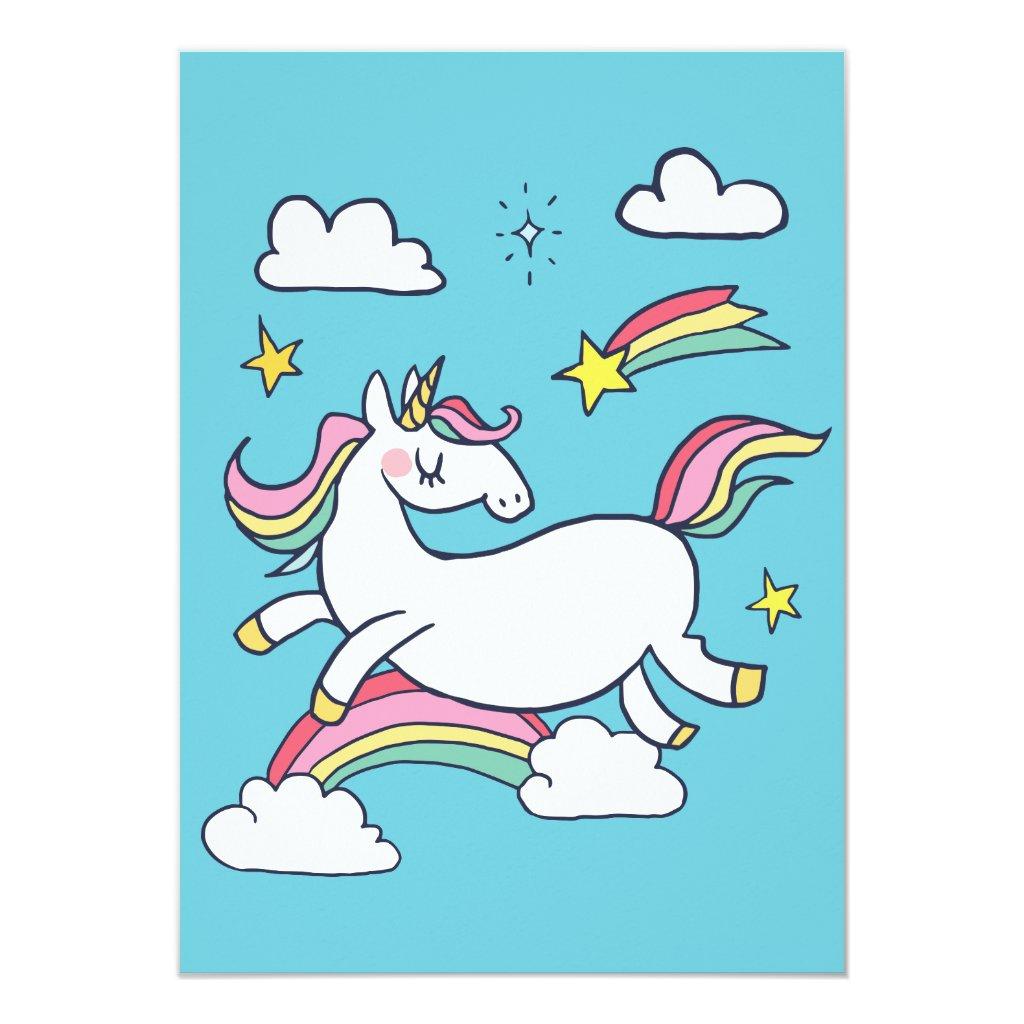 Cute Birthday Doodle Rainbow Unicorn and Stars Card