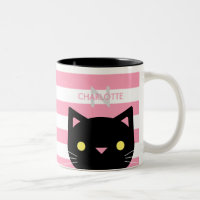 Black Cat Custom Name Coffee Mug