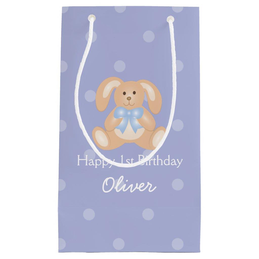 Cute Blue Ribbon Bunny Rabbit First Birthday Party Gift Bag