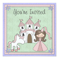 Cute Brunette Princess and Unicorn Birthday Invite