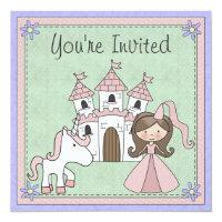 Cute Brunette Princess and Unicorn Birthday Invite