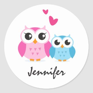 Cute cartoon owls sticker