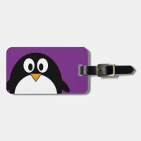 cute cartoon penguin purple travel bag tags