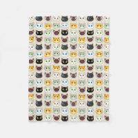 Cute Cats Pattern Fleece Blanket