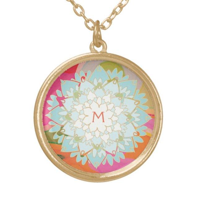 Cute Colourful Lotus Flower Monogram Necklace