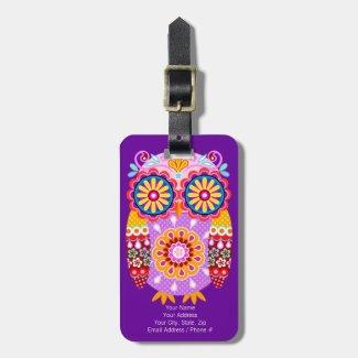 Cute Colourful Owl Luggage Tag - Customise it!