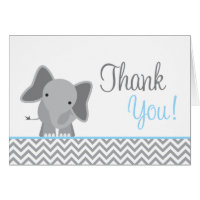 Cute Elephant Chevron Light Blue Thank You Card