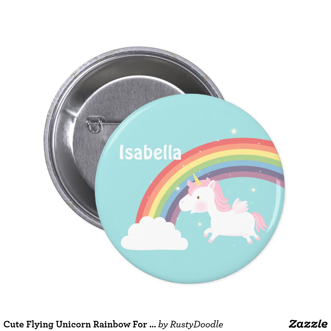 Cute Flying Unicorn Rainbow Badge