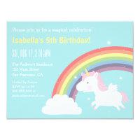 Cute Flying Unicorn Rainbow Girls Birthday Party Card
