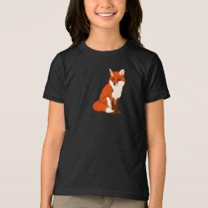 Cute Fox Sitting Girls T-Shirt