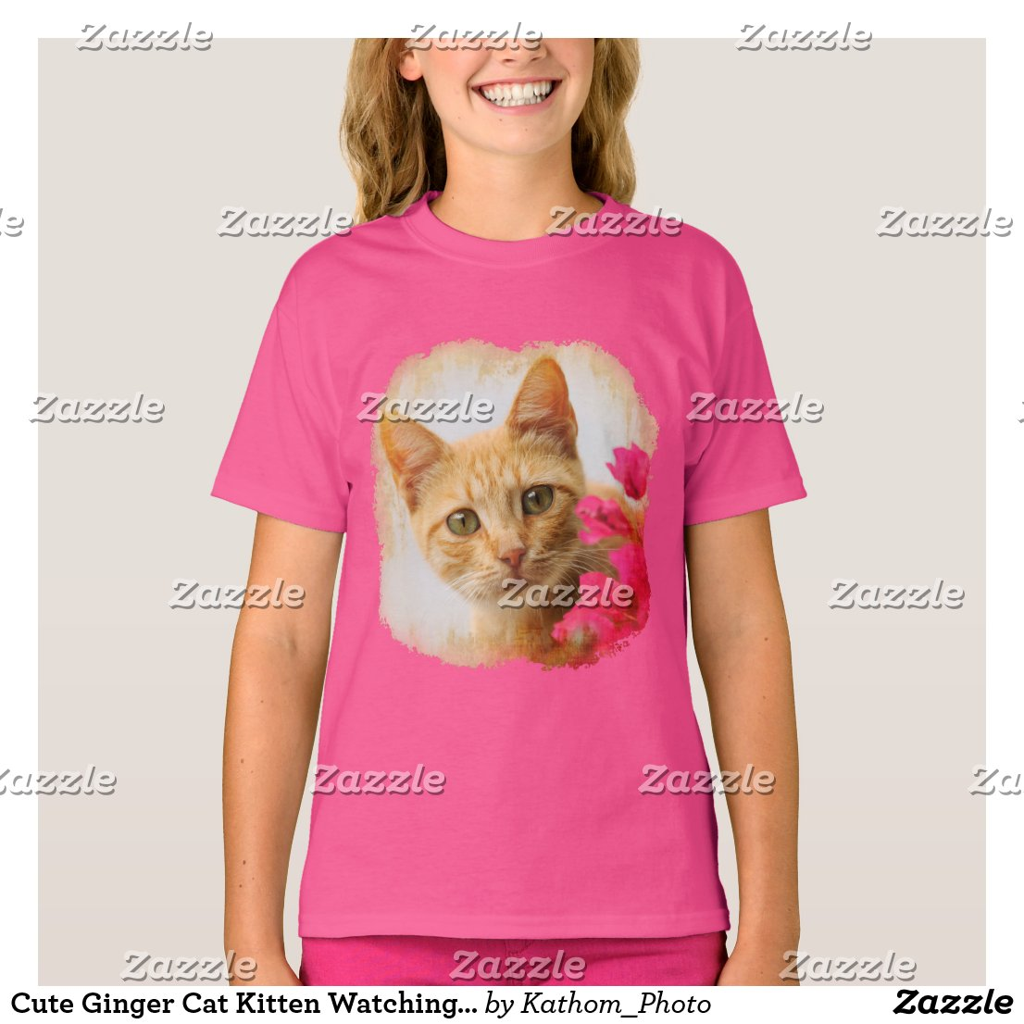 Cute Ginger Cat Kitten Watching You Photo - pink